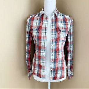 AE flannel shirt button plaid 00 pocket cotton